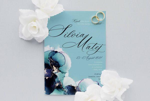 Luxusní svatební oznámení Vibrant Blue